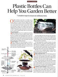 Plastic bottles can help you garden better.