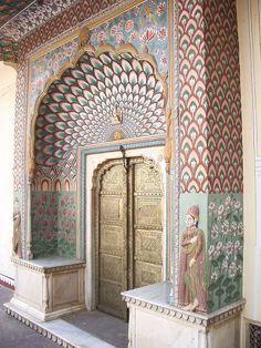 the peacock door at Maharajah Palace, Jaipur, India
