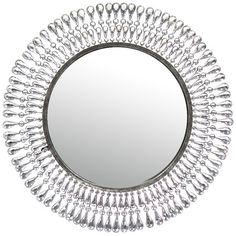 Round wall mirror with metal. The delicate silhouette of this round wall mirror offers a contemporary interpretation of the traditional sunburst design, b. Large Round Mirror, Round Wall Mirror, Floor Mirror, Round Mirrors, Black And White Furniture, Black Decor, Minka, Metal Walls, Neutral