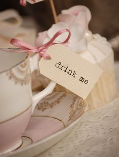 Drink Me Teacup Tags  cream with dusky pink ribbon  by vintagetwee