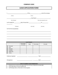 Leave Application Form Template   Are You Looking For A Leave Application  Form To Submit One