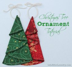 Christmas Tree Ornament Tutorial 40 DIY Homemade Christmas Ornaments To Decorate the Tree - Big DIY IDeas Christmas Projects, Holiday Crafts, Christmas Ideas, Christmas Balls, Quilted Christmas Ornaments, Fabric Christmas Decorations, Christmas Fabric Crafts, Origami Christmas Tree, Christmas Quilting