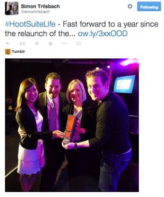 Fast forward a year since the relaunch of the Ambassador program. The Ambassador program was awarded the Best Social Engagement by Influitive. @stephawie and Hootsuite team at the award ceremony. #HootAmb #SocialMedia