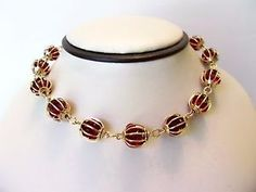 Trifari Necklace Ruby Red Glass Rhinestone Cage Bead Gold Plate Vintage Choker | eBay