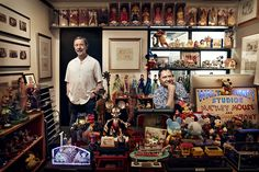 ♥ ♥ Ed Catmull (left) and John Lasseter in Lasseter's Burbank office. (This is how it always looks.)