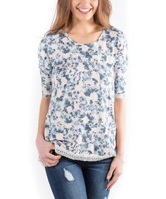 This Blue & White Floral Clarendon Top is perfect! #zulilyfinds