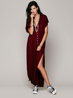Marrakesh Dress | Semi-sheer maxi dress with button placket front and scoop…