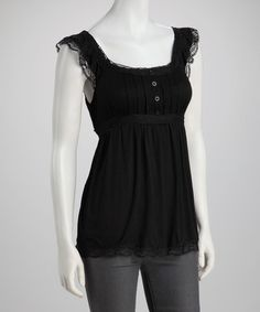 Take a look at this Black Pleated Lace Button-Front Sleeveless Top by Simply Irresistible on #zulily today!