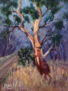 I am an artist who is passionate about Australia. I paint nature-inspired oil paintings of forests, flowers, the outback, gum trees and the sea. Walk Past, 30 Day Challenge, Trail, February, Australia, Clouds, Paintings, Sun, Shape