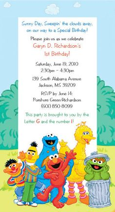 Sesame Street Invitations by SuzansDesigns on Etsy, $0.50