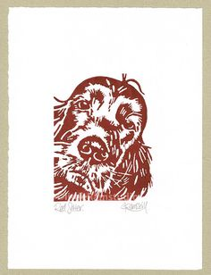 Red Setter Dog  Linocut Original hand pulled by littleRamstudio, £20.00
