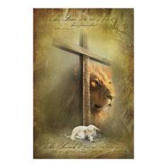 Small Poster - Lion of Judah, Lamb of God by Christian Art Posters - CafePress Christian Posters, Christian Wall Art, Christian Symbols, Christian Quotes, Lion Of Judah Jesus, Image Lion, Lion And Lamb, Christian Warrior, Tribe Of Judah