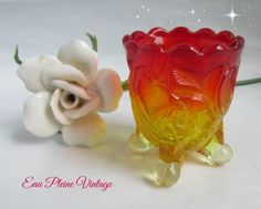 Amberina EAPG Glass Inverted Strawberry Plant Footed Toothpick Holder Trinkets Vanity