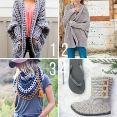 Free crochet patterns with video tutorials that feature Lion Brand yarn. Patterns include cardigans, sweaters, a triangle scarf and crochet boots made with flip flops.