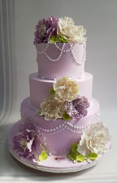 Lilac Love in Cream by Michelle's Sweet Temptation - http://cakesdecor.com/cakes/279235-lilac-love-in-cream