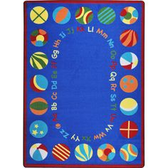 Bouncy Balls Kids Rug in Multi Color x - Joy Carpets colorful bouncy ball designates a seating area around the carpet edge where children can gather for group time. The upper and lower case alphabet forms a perfect elliptical inside Kid Essentials, Bouncy Ball, Rugs On Carpet, Carpets, Cool Rugs, 5 S, Fun Activities, Kids Rugs, Classroom Rugs