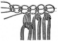 FIG. 518. KNOTTING ON THREADS ON TO A PICOT HEADING.