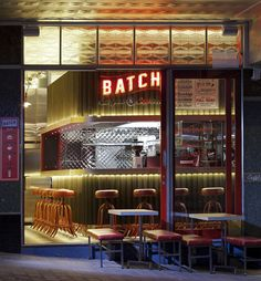 Batch Burgers and Espresso is a retro-styled eatery in Kirribilli, Australia. Giant Design retained the building's existing Art Deco features in the design.
