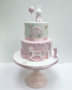 Inspiration Picture of Baby Girl First Birthday Cake . Baby Girl First Birthday Cake Miffy Pink Bunny Cake For Little Girls First Birthday Sweet Girls First Birthday Cake, 1st Birthday Cake For Girls, Birthday Cake With Photo, Baby Birthday Cakes, Torta Baby Shower, Tortas Baby Shower Niña, Baby Girl Cakes, Cake Baby, Little Girl Cakes