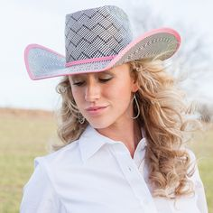 American Hat Co. Pink Bound and Pink Band Straw Hat - Spring 2014  http://www.nrsworld.com/american-hats/black-white-american-hat-co-pink-band-bound-edge-straw-cowboy-hat-123779?utm_source=Social&utm_medium=Facebook&utm_campaign=PBSTRAW
