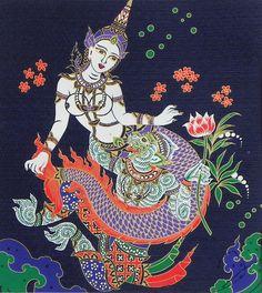 Hanuman with Sovanna Maccha (Mermaid Princess) - Screen Print on silk