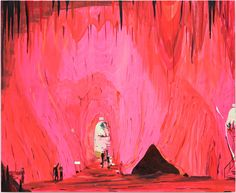 Exiting the Caves, 2009, Oil on panel, 27x33in (68.6x83.8cm) | jules de balincourt