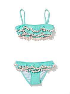 Turquoise Ruffle Bikini by PilyQ Barcelona