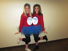 20 Couples Halloween Costumes To Try With Your BFF - Couples Halloween costumes don't just have to be for couples. Here's some costume ideas to try with your bestfriend that are fun, and cute! Dr Seuss Costumes, Best Friend Halloween Costumes, Hallowen Costume, Cute Halloween, Costume Ideas, Halloween Costumes For Teachers, Diy Costumes, Halloween Makeup, Sister Costumes