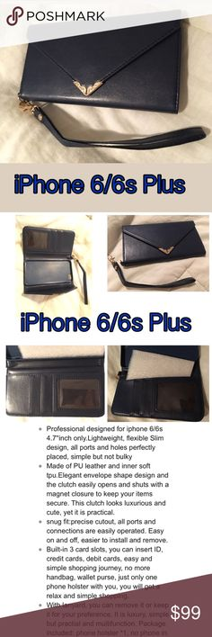 iPhone 6/6s Wallet Clutch PU Leather Navy Blue 📱 BOGO ELIGIBLE 💠 Lightweight fashion women's wallet wristlet purse with clutch lanyard & card holder. Multifunctional phone case, you don't need take your big handbag. This saves time for you, you can use it to do sports, enjoy movie, surfing, or even reading.  It is made of pu leather and inner layer soft tpu, you will find it is a genious design, choose the perfect couple for your phone,  Magnetic closure cash pocket, ID widow and two large…