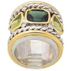 Wide Tourmaline Zircon Diamond White and Yellow Gold Ring | 1stdibs.com