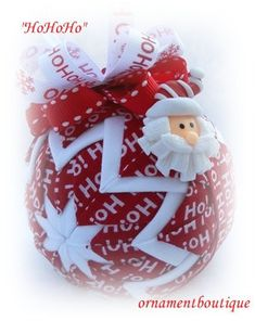 Quilted Christmas Ornament Santa red white by OrnamentBoutique, $22.00