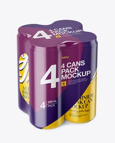 4 Glossy Cans in Shrink Wrap Mockup - Half Side View (High Angle Shot)
