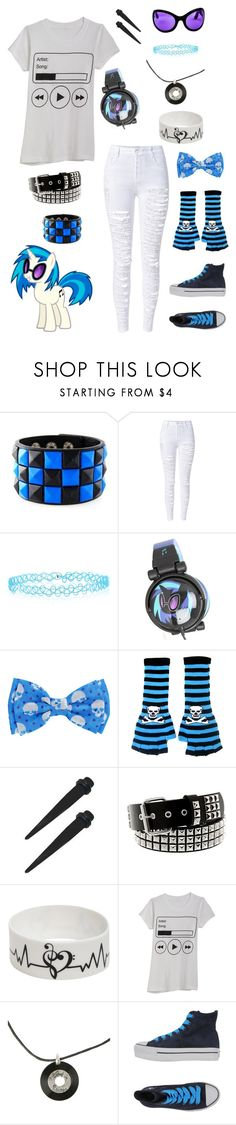 """""""Vinal Scratch"""" by ooakforest ❤ liked on Polyvore featuring WithChic, Monsoon, My Little Pony and Converse"""