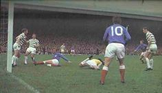 Celtic 2 Rangers 0 in Sept 1970 at Parkhead. Evan Williams dives on the loose ball with Colin Stein lurking Celtic Pride, Celtic Fc, Evan Williams, Glasgow, Ranger, Ford, Football, Running, Emerald