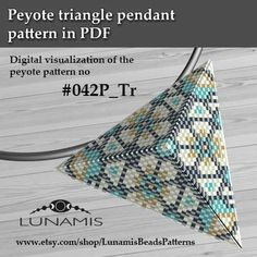 Peyote triangle patterns, pattern for triangle pendant, peyote patterns, beading, peyote stitch, digital file, pdf pattern #042P_Tr