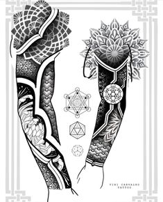 Geometric Tattoo Stencil, Geometric Tattoo Sleeve Designs, Armband Tattoo Design, Mandala Tattoo Design, Tattoo Stencils, Wolf Tattoo Sleeve, Sleeve Tattoos, Tattoo Drawings, Body Art Tattoos
