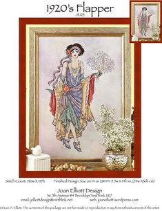 Joan Elliott 1920's Flapper - Cross Stitch Pattern. Model stitched on 28 Ct. Colorful Clouds Jobelan from Polstitches with DMC floss, Kreinik #4 Braid, and Mill