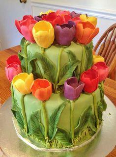 Tulip cake for a bridal shower Gorgeous Cakes, Pretty Cakes, Cute Cakes, Amazing Cakes, Tulip Cake, Floral Cake, Unique Cakes, Creative Cakes, Fondant Cakes