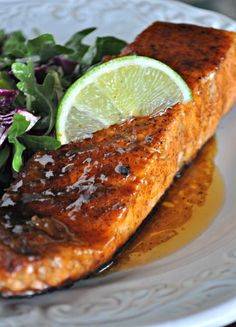 Sweet and Spicy Peach Glazed Salmon - Healthy Food Queen