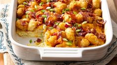 Crispy tots, bacon and eggs come together in one amazing and easy breakfast bake!