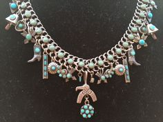Vintage Sterling Zuni Navajo Charm Necklace Fred Harvey Pawn Western Americana made from older earrings and charms $500