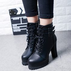 2016-Autumn-Korean-version-of-the-British-high-heeled-boots-with-thick-boots
