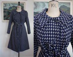 Vintage 1950s Blue Wool Coat Size Medium UK 12 -14