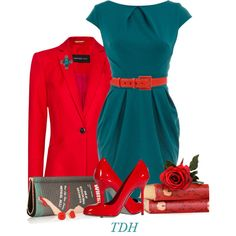 A fashion look from September 2014 featuring teal dress, cotton jacket and vintage purse. Browse and shop related looks.