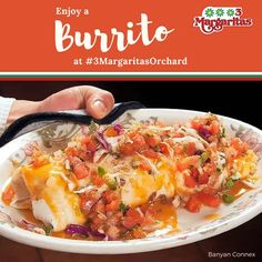 We serve seriously good burritos. Have one for lunch today. Orchard Restaurant, Burritos, Menu, Lunch, Ethnic Recipes, Food, Margaritas, Breakfast Burritos, Menu Board Design