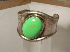 Taxco Modernist Wave Bracelet, Sterling Silver Cuff, Gaspeite Stone,Green Bracelet, Mexican Silver Bracelet, Wide Bracelet, Heavy, Vintage by Oldtreasuretrunk on Etsy