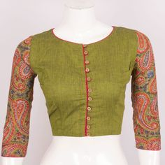 Hand Block Printed Cotton Blouse With Full Sleeve 10018873 Size - 38 - front - AVISHYA.COM