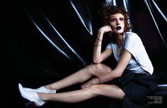 Top / Maison Martin Margiela  Skirt / Giambattista Valli Shoes / Céline  Necklace / AESA  Bracelets / Delfina Delettrez