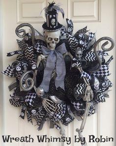 Deco Mesh Halloween Skeleton Wreath, Large Skeleton, Fall Wreath, Halloween Decor, Victorian Skeleton Wreath by WreathWhimsybyRobin on Etsy