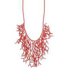 Coral Bead Branch Bib Necklace ($31) ❤ liked on Polyvore featuring jewelry, necklaces, long necklace, beaded bib necklace, bead jewellery, long coral necklace and coral jewelry